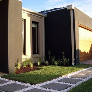 Plain Smooth Charcoal Pavers With White Stone
